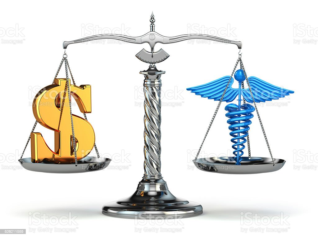 Choice health or money. Caduceus and dollar signs on scales. vector art illustration