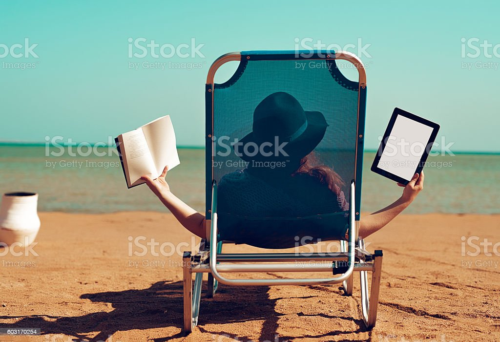 choice, modern or traditional reading time stock photo