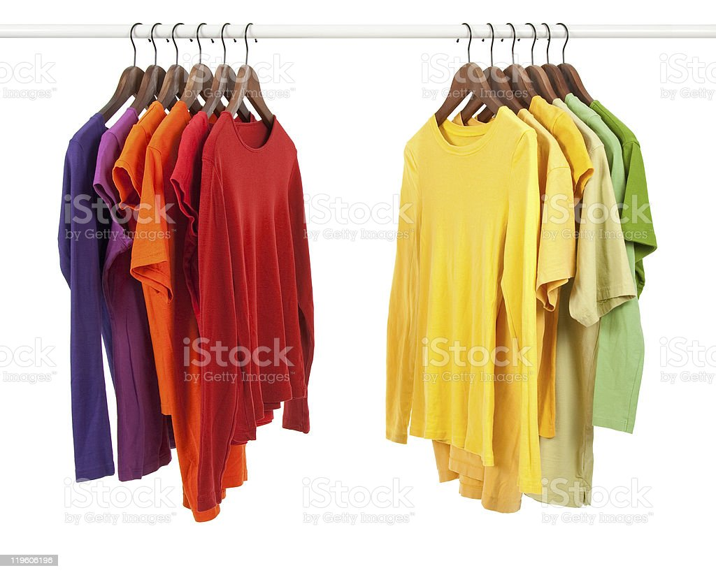 Choice of clothes, different colors royalty-free stock photo