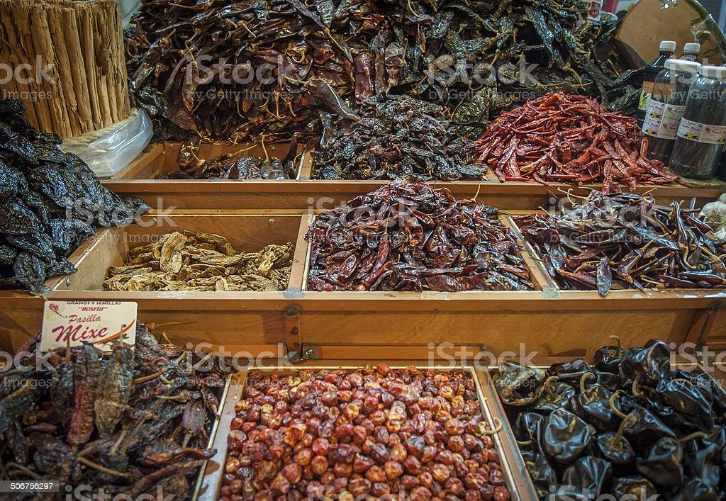 Choice of dried chili in Oaxaca market, Mexico stock photo