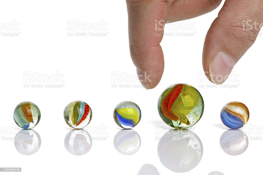 Choice of marbles in different colors stock photo