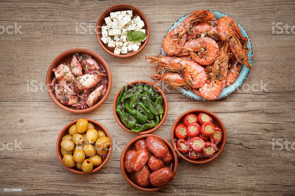 Choice of tasty Spanish tapas stock photo