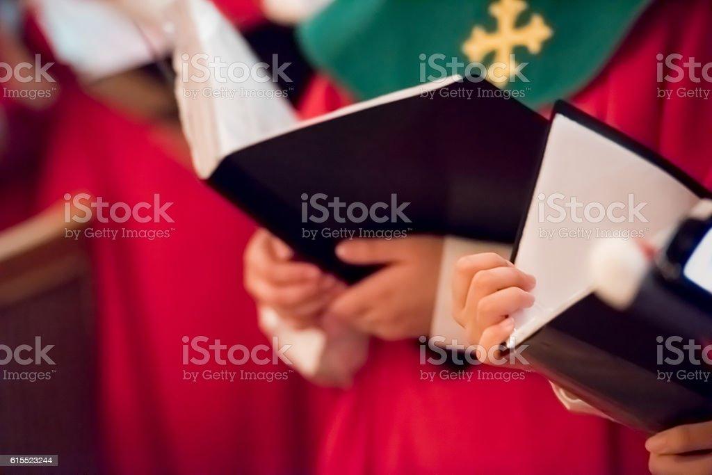 Choir singing Christmas carols stock photo