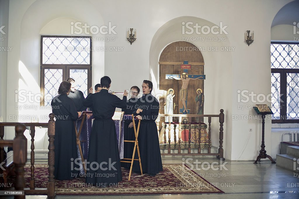 choir sings during Orthodox liturgy royalty-free stock photo