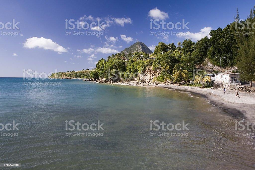 Choiseul Bay on Saint Lucia stock photo