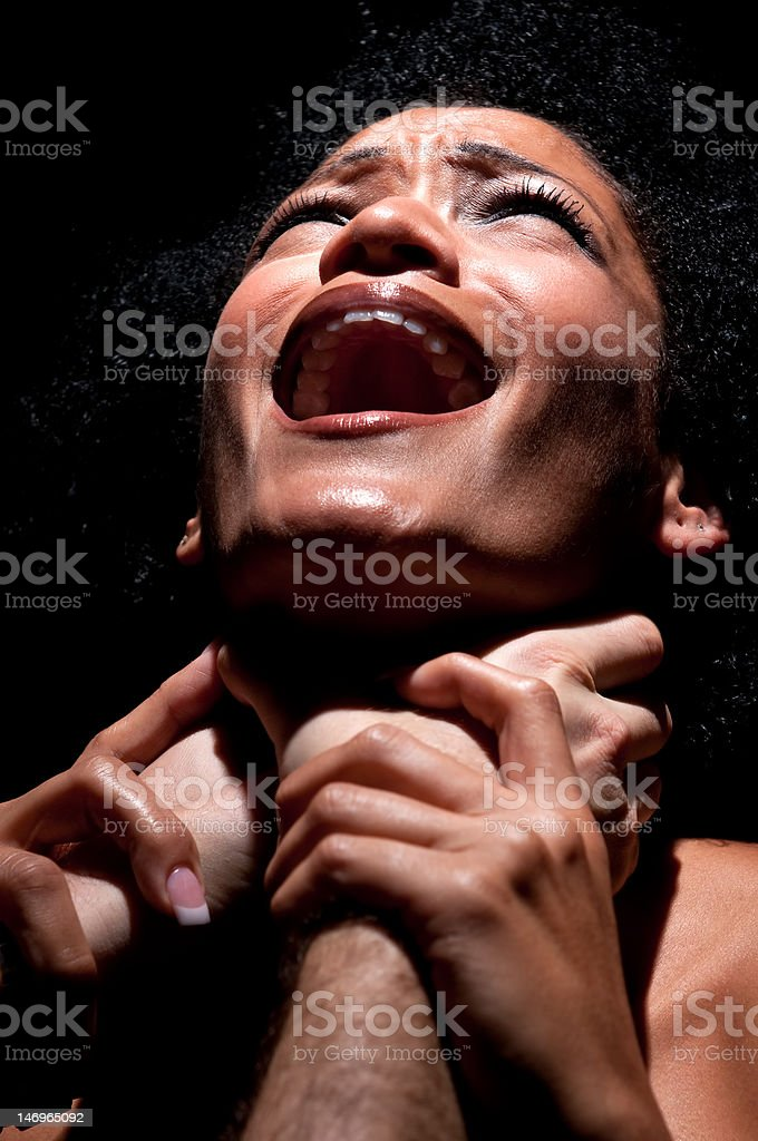 Choked and abused stock photo
