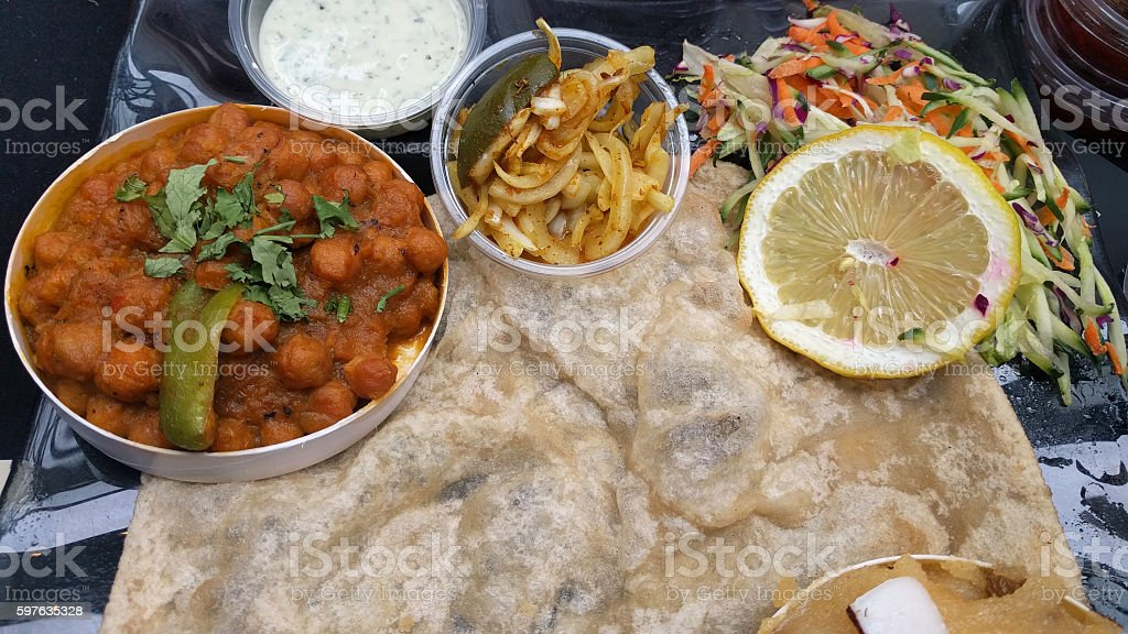 Chole Bhature - chick pea curry - Indian street food stock photo