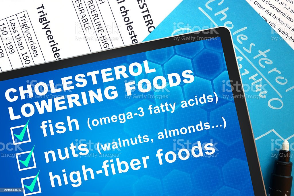 cholesterol lowering foods stock photo
