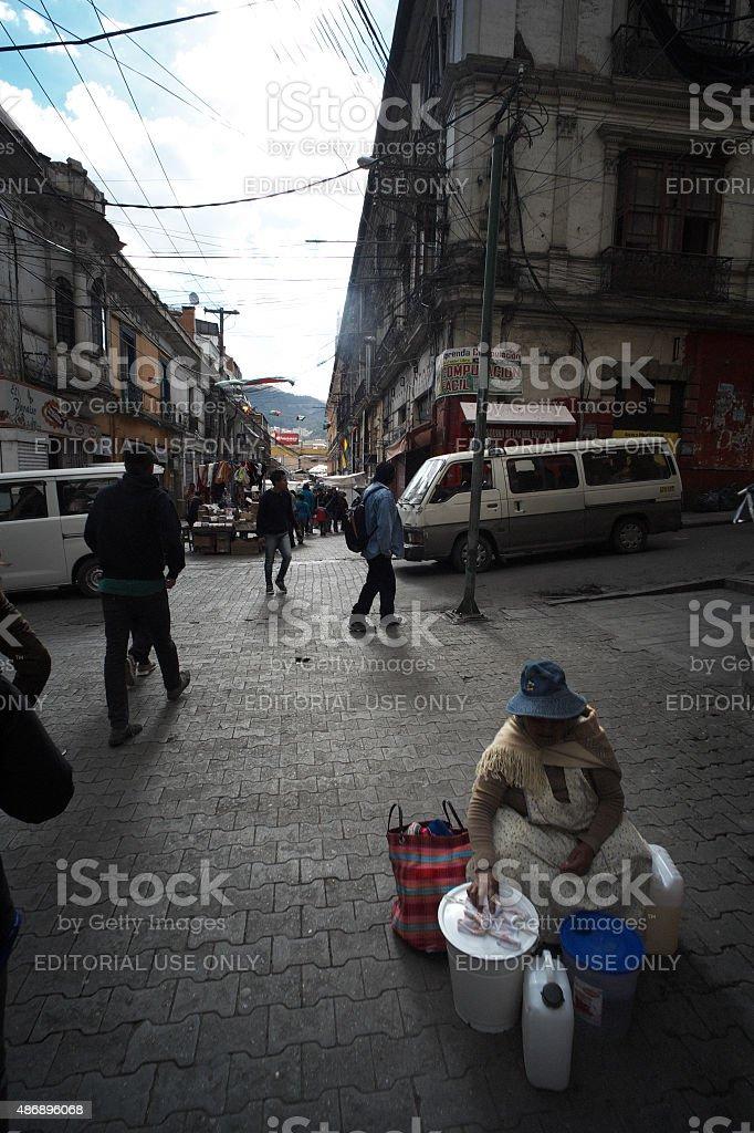 Cholita in La Paz stock photo