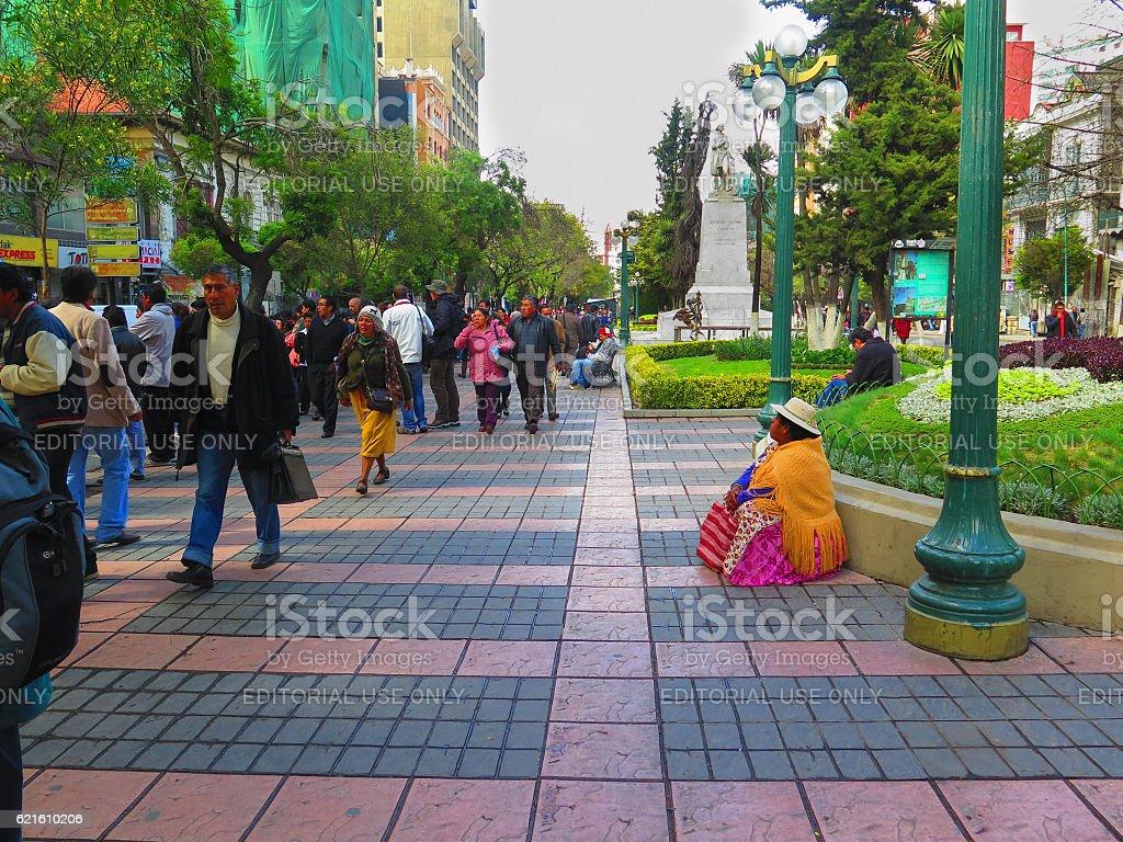 Cholita Woman in La Paz stock photo