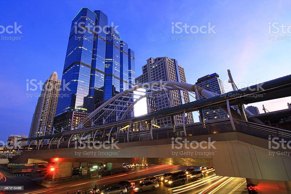 Chong Nonsi Skywalk,  Bangkok landmark. stock photo