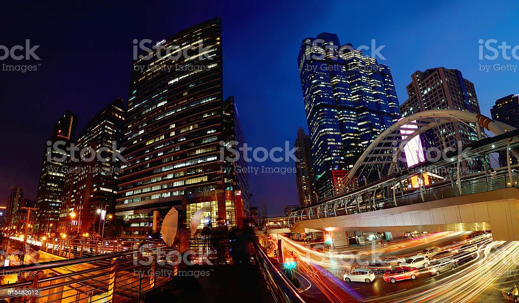 Chong Nonsi Skywalk during twilight time, Bangkok,Thailand stock photo