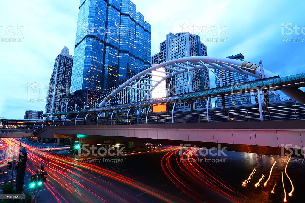 Chongnonsi, Chong Nonsi Skywalk at Bangkok Skytrain station stock photo