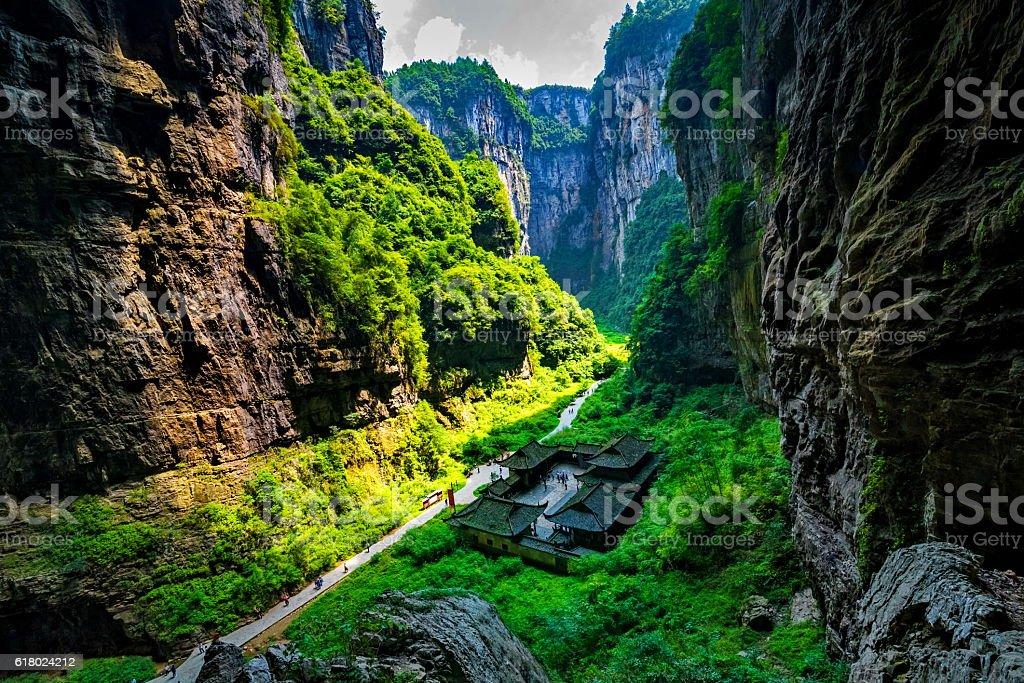 Chongqing Wulong ancient Inn natural bridge Scenic Area stock photo