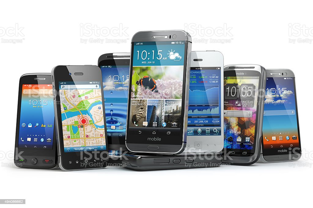 Choose mobile phone. Row of the different smartphones. stock photo