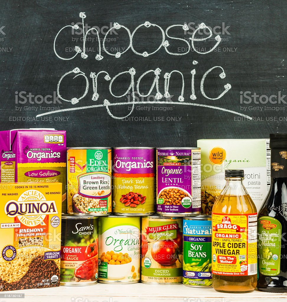 Choose Organic Groceries stock photo