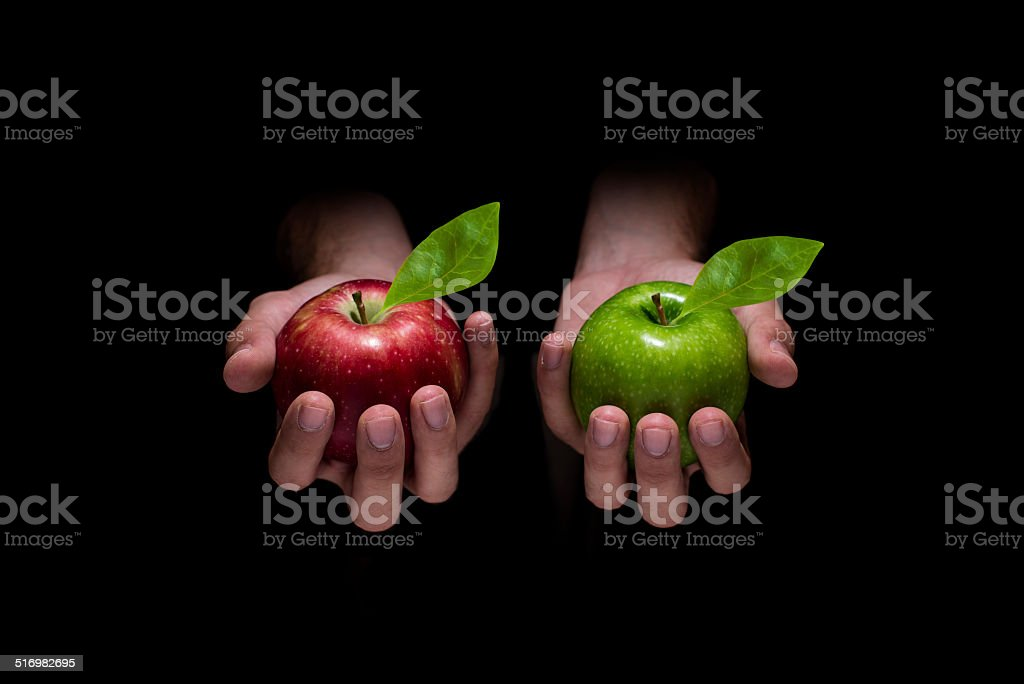 Choose red or green apple stock photo