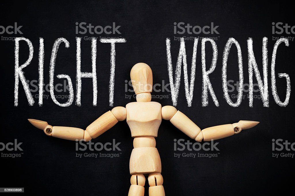 Choose ,,Right or Wrong  ? ' stock photo