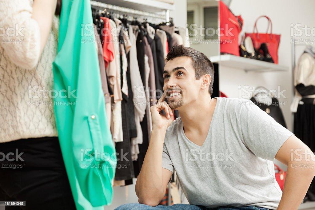 Choosing a dress royalty-free stock photo