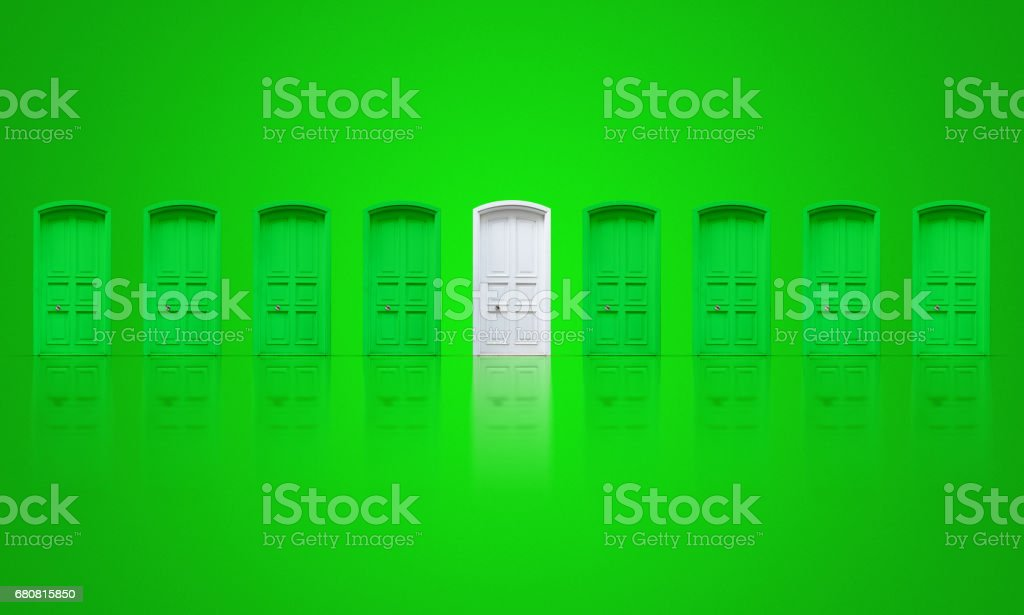 Choosing a white door stock photo