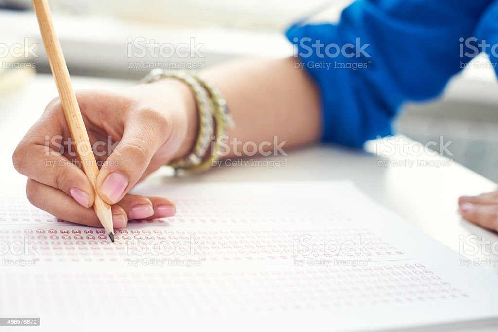Choosing an answer stock photo