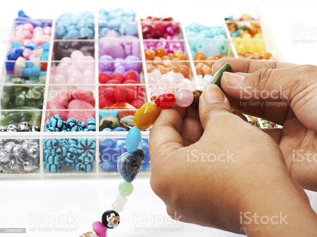 Choosing Beads For A Unique Necklace royalty-free stock photo