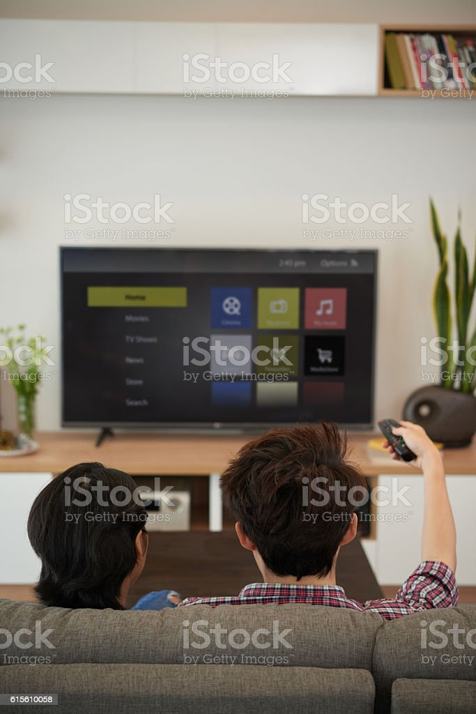 Choosing channel stock photo