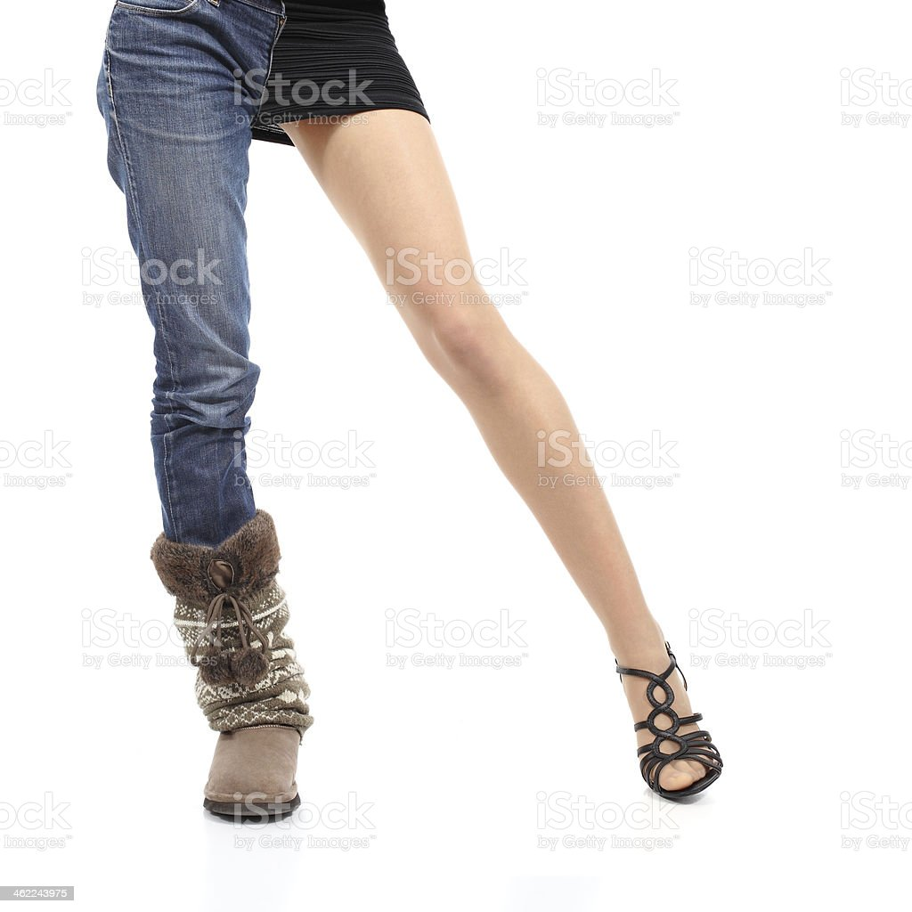 Choosing clothing concept casual or elegant woman model legs stock photo