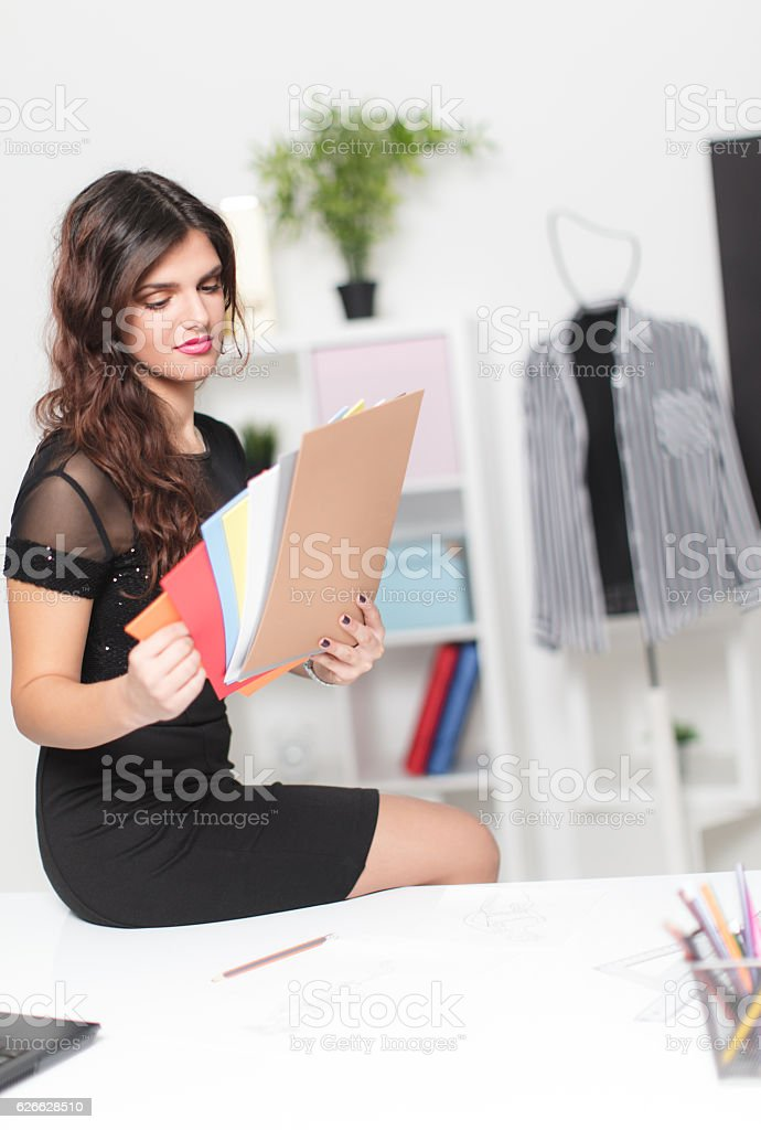Choosing color for new shirt stock photo