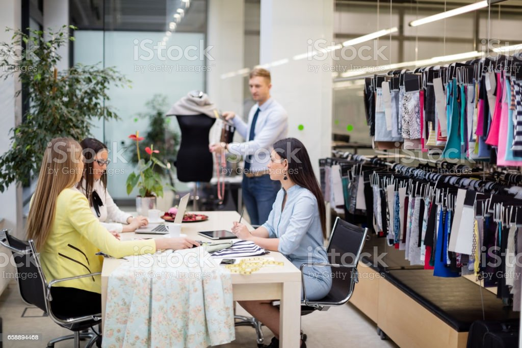 Choosing from textiile pattern stock photo