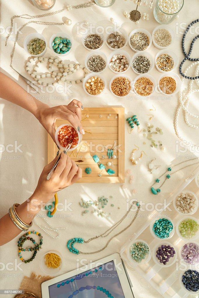 Choosing gems stock photo