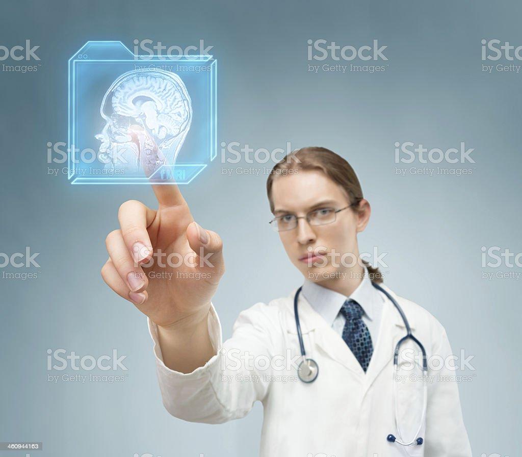 Choosing magnetic resonance stock photo