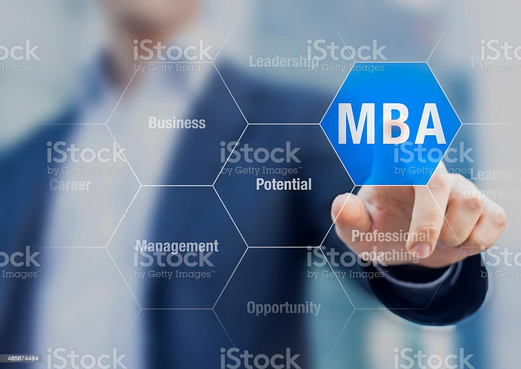 Choosing MBA Master of Business Administration program stock photo