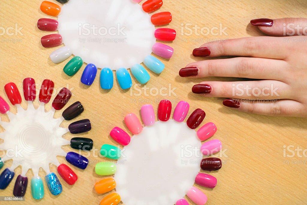 Choosing nails stock photo