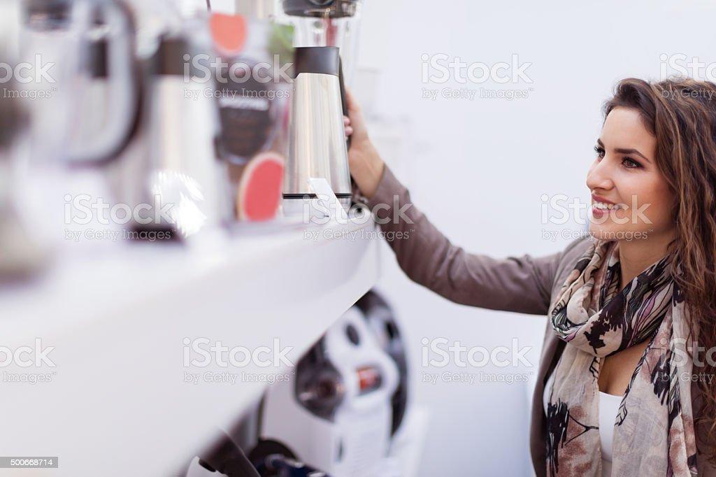 Choosing new kettle stock photo