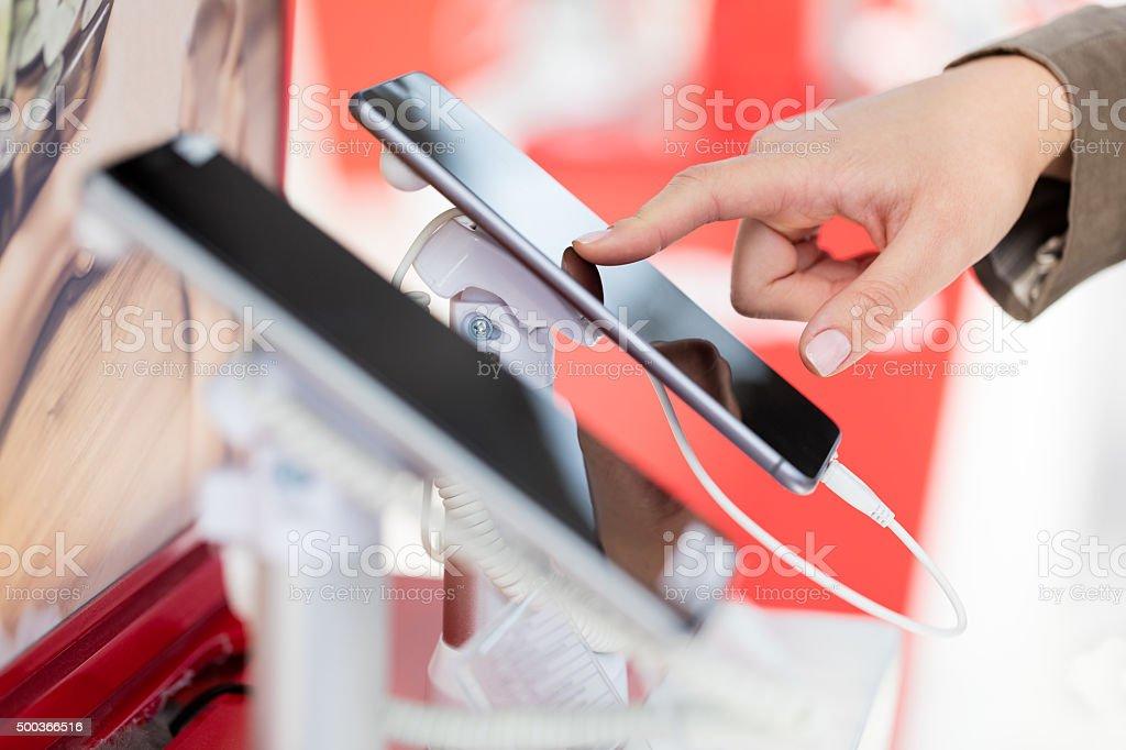 Choosing new phone stock photo