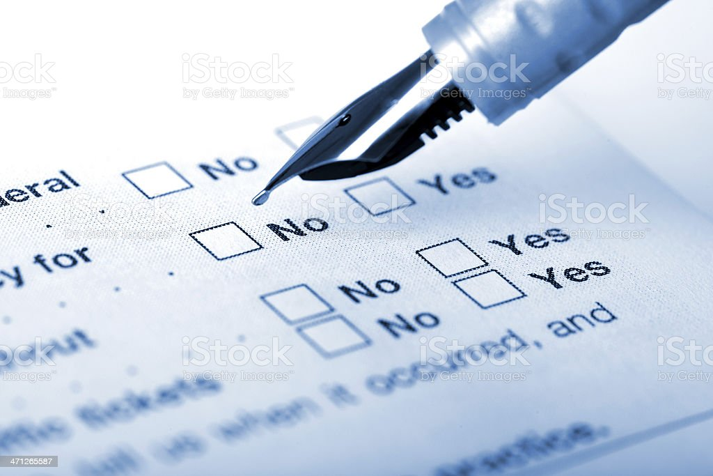Choosing No on the application form stock photo