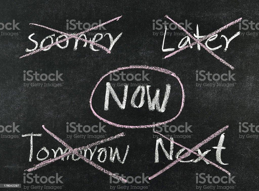 choosing now on blackboard stock photo