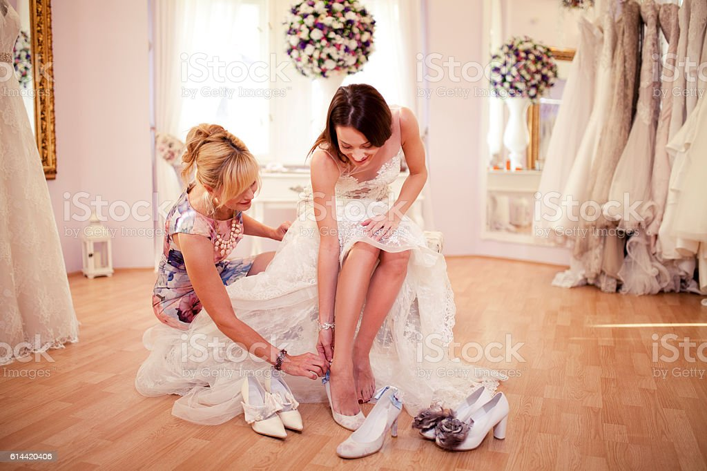 Choosing right shoes stock photo