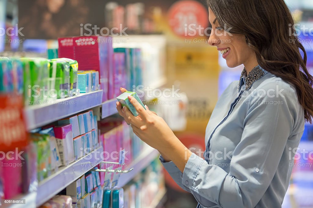 Choosing tampons stock photo