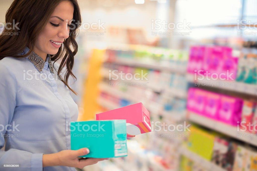 Choosing tampons stock photo