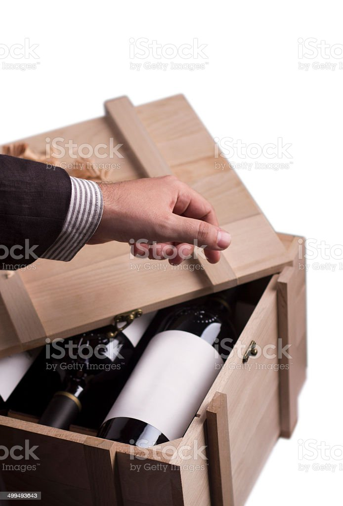 Choosing the best bootle of wine stock photo