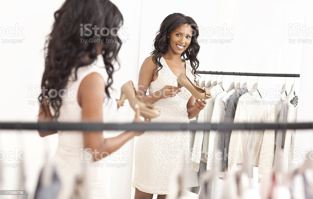 Choosing the perfect shoe. stock photo