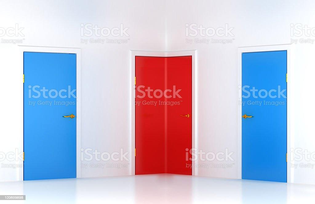 Choosing the right way: conceptual corner door royalty-free stock photo