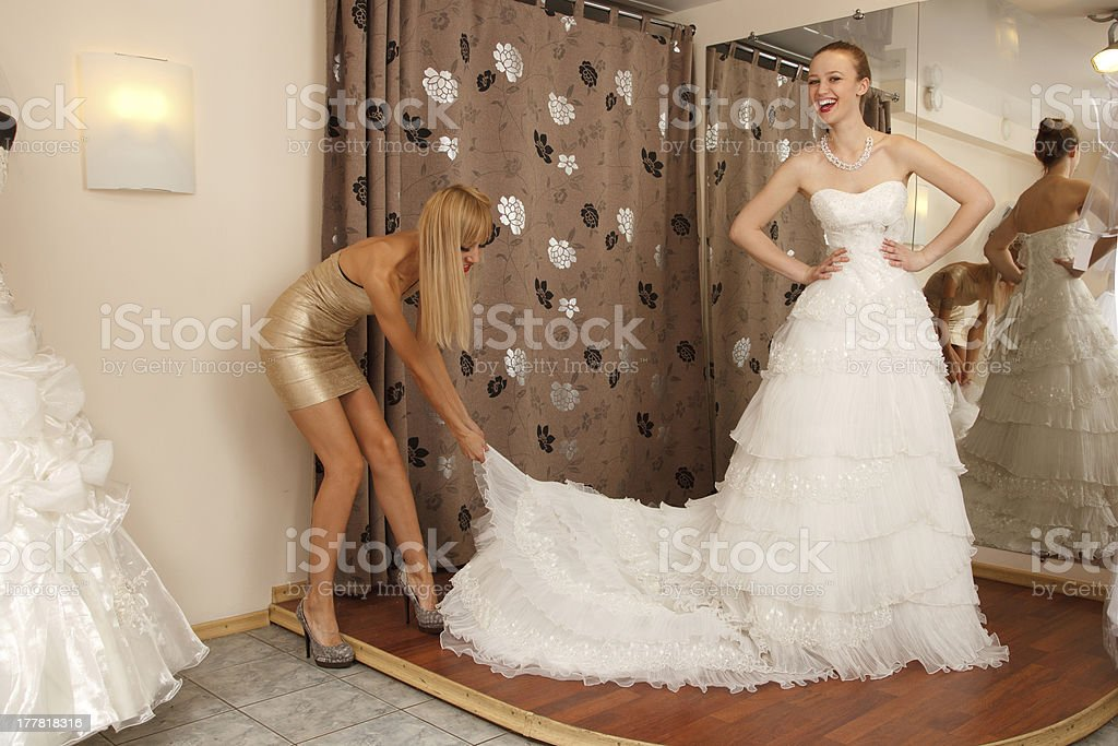 Choosing wedding dress royalty-free stock photo