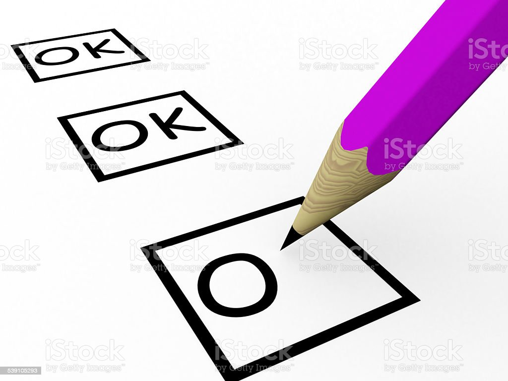 Choosing yes. Checkmark a pencil stock photo