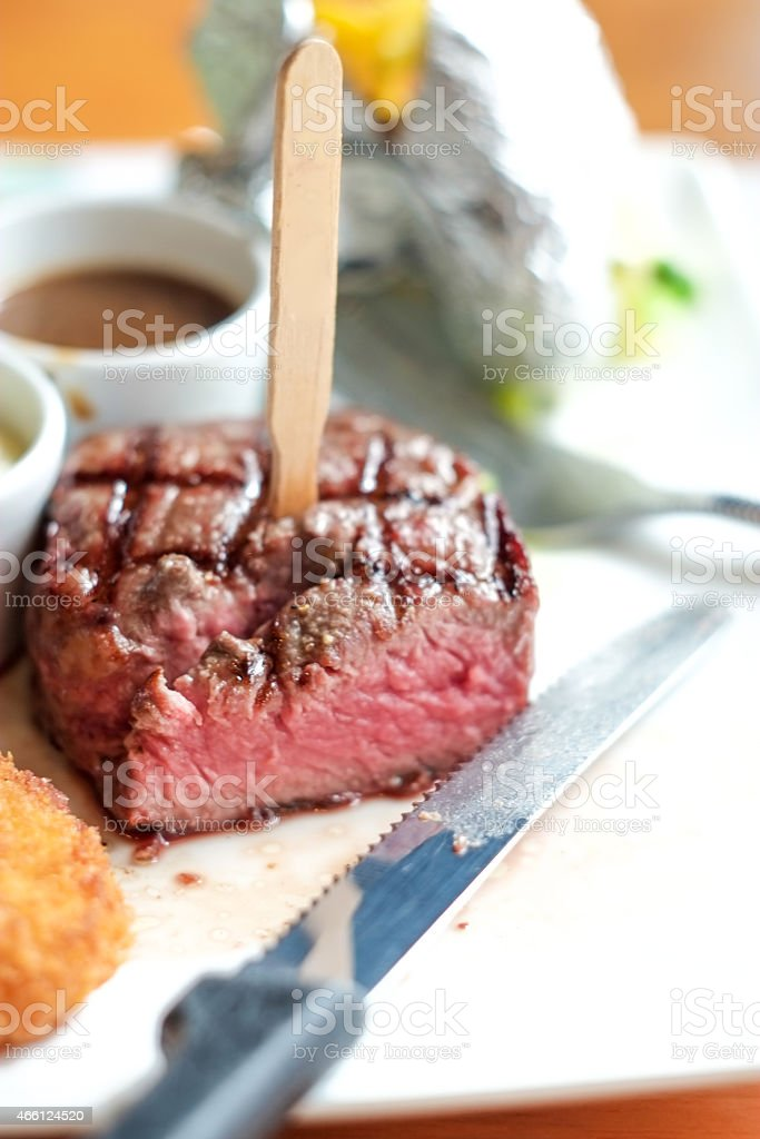 chop beef steak with wood stock photo