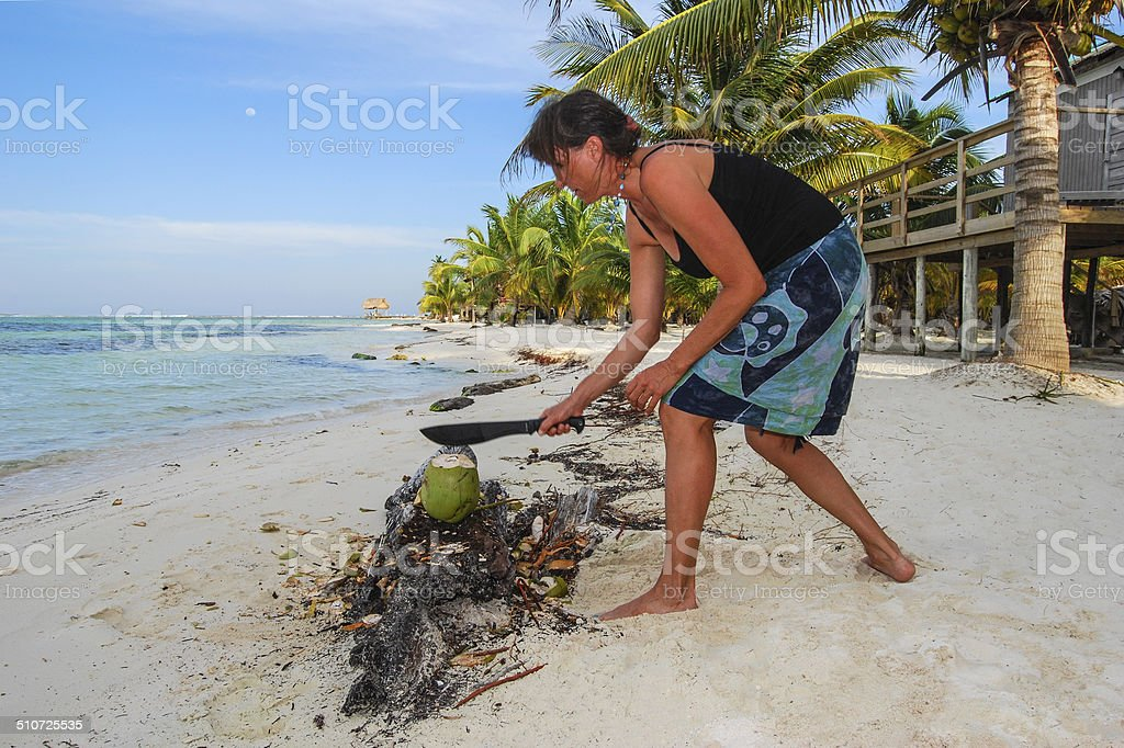 Chop the Coconut 3 stock photo
