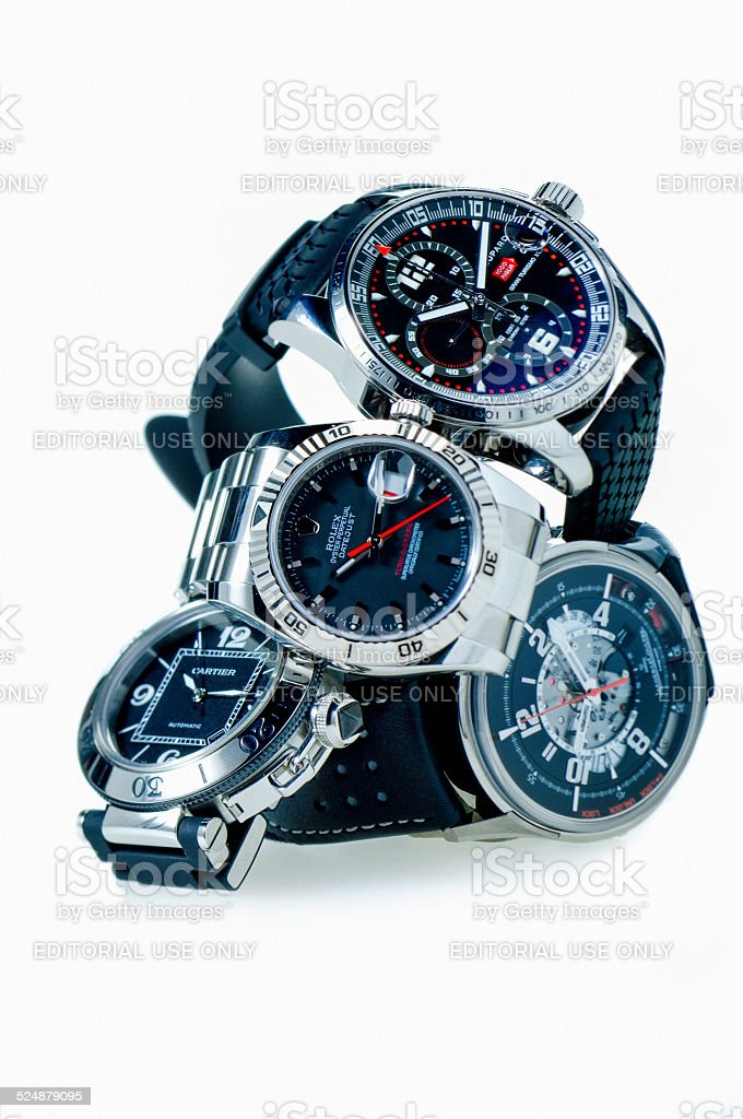 Chopard, Rolex, Cartier and Jaeger Lecoultre luxury Swiss wristwatches stock photo