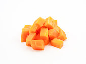 chopped and sliced carrot isolated